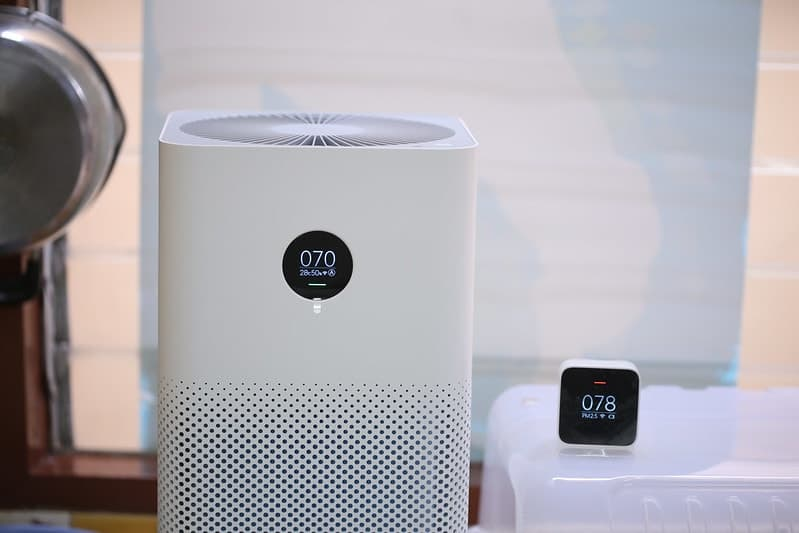 white air purifier working