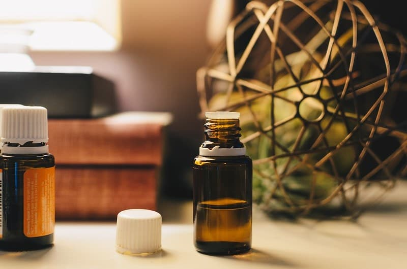 brown bottle with essential oil