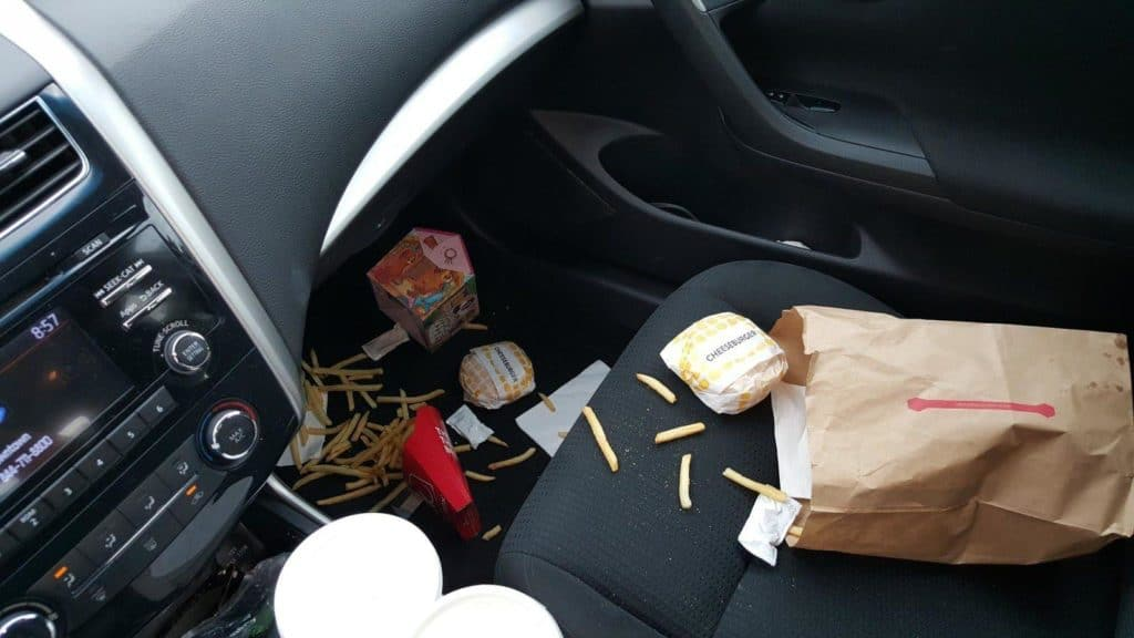food leftovers in car
