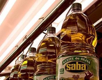 bottles of olive oil in a shop
