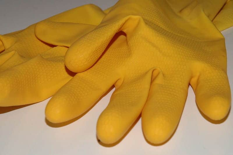 pair of yellow rubber gloves