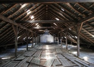 brown old wooden attic